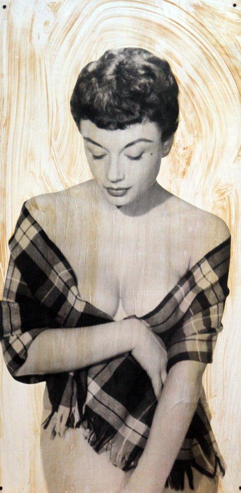 Pamela Green by Harrison Marks -Mixed Media on Wood 2x4