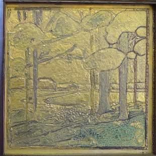 FRAMED MOSIAC TILE CO. ART POTTERY TILE, GDIFFEREN