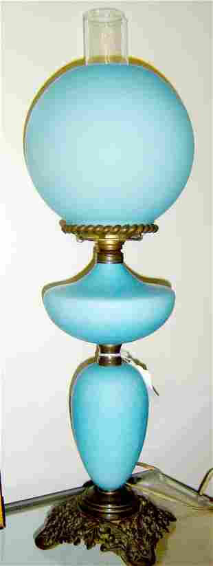 BLUE QUILTED SATIN GLASS BANQUET LAMP CONVERTED FR