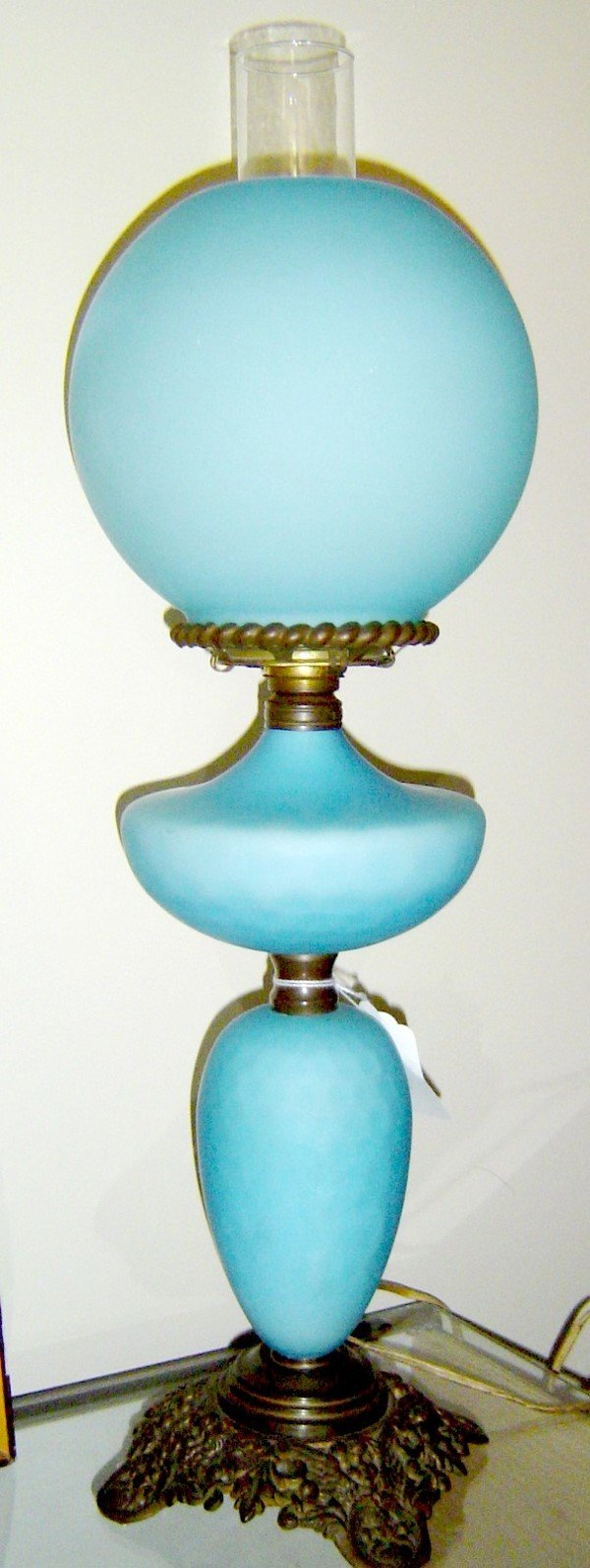 223: BLUE QUILTED SATIN GLASS BANQUET LAMP CONVERTED FR
