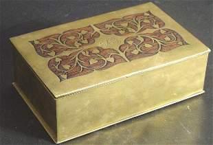 ROSEWOOD & BRASS INLAY BOX, INTARSIA PROBABLY GERM