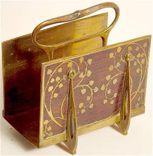 BRASS INLAID ROSEWOOD LETTER HOLDER, INTARSIA PROB