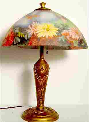 """ANTIQUE REVERSE PAINTED TABLE LAMP, 22"""" TALL DIAME"""