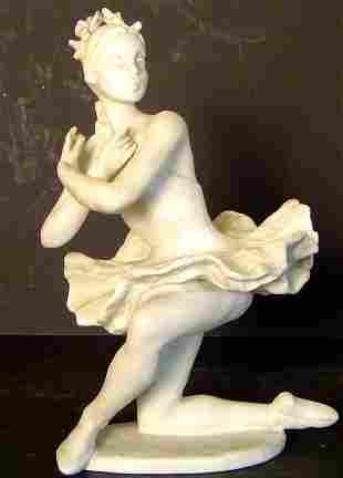 ROSENTHAL BISQUE BALLET DANCER, SIGNED BY ARTIST L