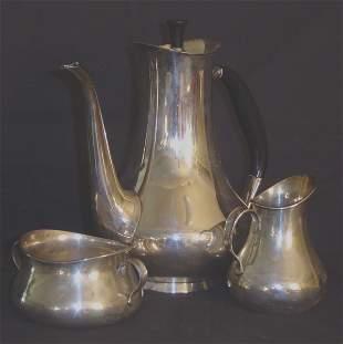 DANISH SILVER COHR ART MODERNE TEA SET, SIGNED AND H