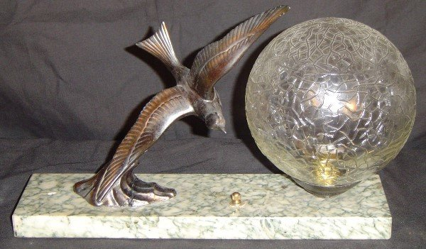 7: ART DECO DESK LAMP WITH MARBLE BASE AND BRONZE? BIRD
