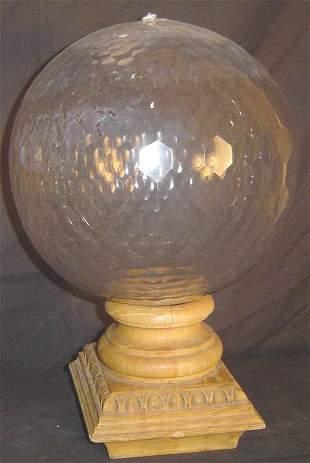 CUT GLASS NEWEL POST, MULTI - FACETED CUT GLASS GLO