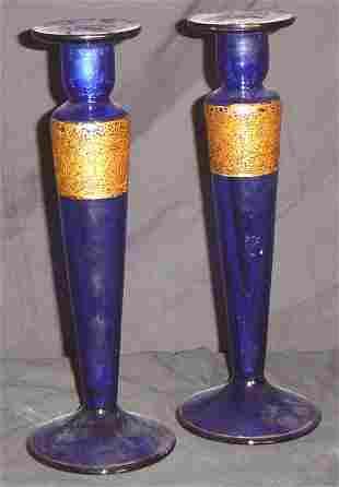 MOSER ? CANDLESTICKS, PAIR COBALT BLUE WITH ACID CU