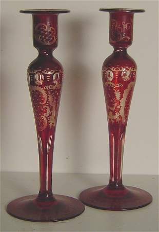 ANTIQUE BOHEMIAN GLASS CANDLESTICKS, CUT AND ETCHED