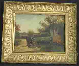 """SIGNED """"H.PEARSALL"""" OIL ON BOARD LANDSCAPE WITH HOR"""