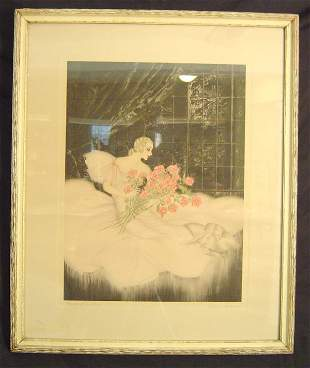 ART DECO ETCHING AND DRYPOINT, SIGNED ALLENE LAMOUR