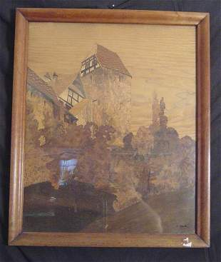 FRAMED MARQUETRY LANDSCAPE PANEL, ARTIST SIGNED ILL