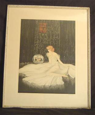 """ART DECO ETCHING AND DRYPOINT, SIGNED COURCELLES, """""""
