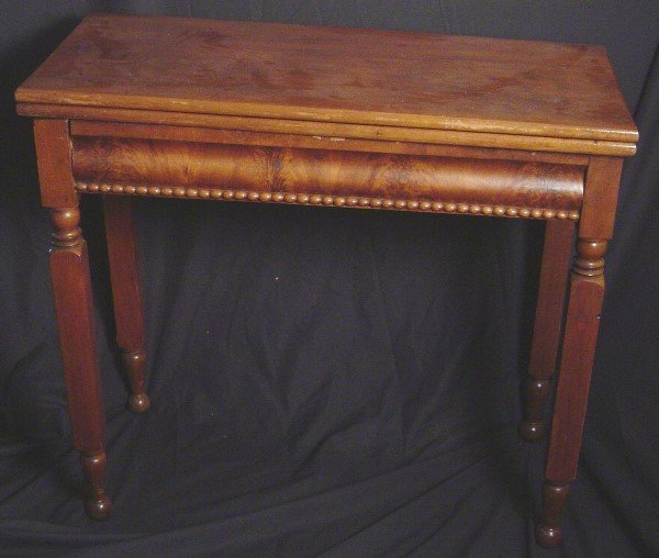 24: NEW YORK 19TH CENTURY FLIP TOP GAME TABLE. MAHOGANY