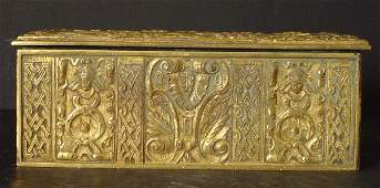 138: FRENCH BRONZE LIDDED BOX WITH SCULPTED MEDEIVAL DE