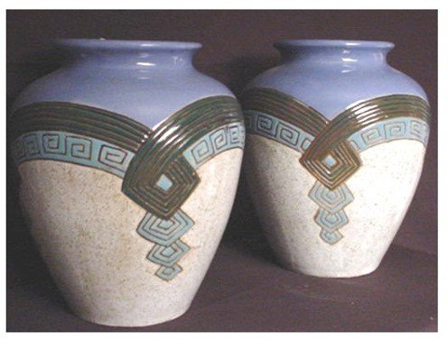 "253: PAIR OF DECO VASES SIGNED PIAT on bottom. 10"" H FR"