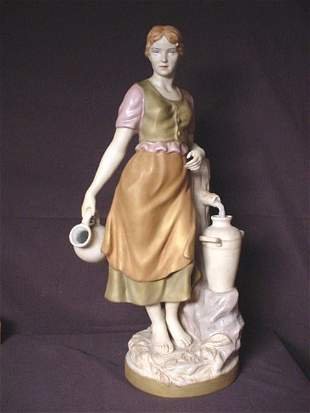 """ROYAL DUX FIGURINE, GIRL AT FOUNTAIN 21"""" tall NOT"""