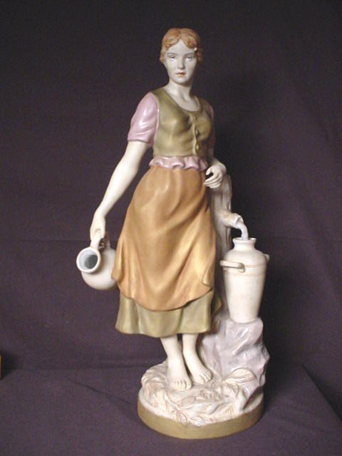 "255: ROYAL DUX FIGURINE, GIRL AT FOUNTAIN 21"" tall NOT"