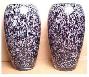 PAIR OF MURANO GLASS VASES CIRCA 1960'S CASED GLAS