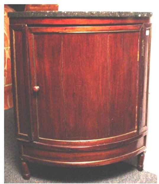 260: ANTIQUE LOUIS XVI , MARBLE TOP CORNER CABINET, WIT