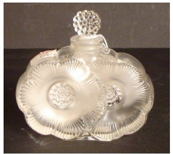 267: LALIQUE SIGNED PERFUME BOTTLE SIGNED MOLDED AND ET