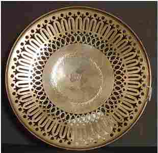 STERLING SILVER BREAD PLATE.SIGNED A.STOWELL & CO