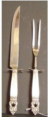 2PC STERLING GEORG JENSEN STYLE CARVING SET, STERL