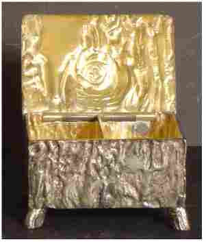PAIRPONT STAMP BOX SILVER PLATE, SIGNED