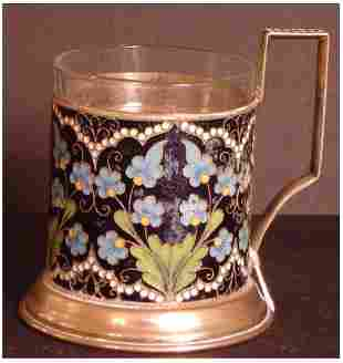"""RUSSIAN CLOISONNE TEACUP WITH HALLMARKS. 3 1/2"""" X"""