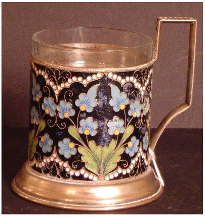"273: RUSSIAN CLOISONNE TEACUP WITH HALLMARKS. 3 1/2"" X"