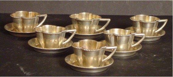 275: AUSTRIAN SILVER MINIATURE CUPS AND SAUCERS, CIRCA