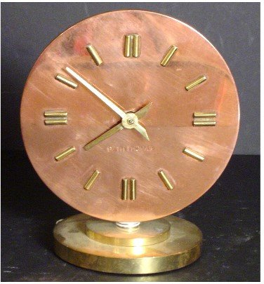 417: MACHINE AGE COPPER & BRASS SETH THOMAS CLOCK ART D