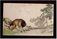 453: ORIENTAL PORCELAIN PLAQUE, ANIMALS IN LANDSCAPE, S