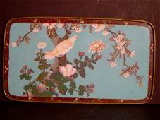 460: CLOISONNE TRAY WITH BIRD IN TREE, 19TH CENTURY. 15