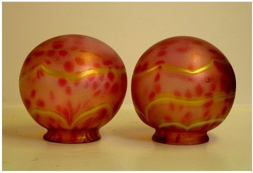 585: LOETZ? PR OF RED AND GOLD ART GLASS GLOBE SHADES D
