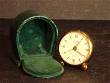 """621: SWISS TRAVEL ALARM CLOCK LEATHER CASE APPROX 2"""""""