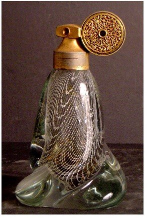 708: MARCEL FRANCK PERFUME ATOMIZER, NICE ART GLASS, 19