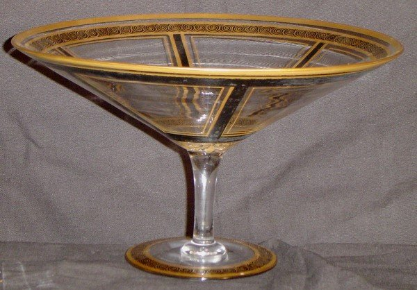 903: HAND BLOWN ENAMELED GLASS CANDY DISH WITH GOLD AND