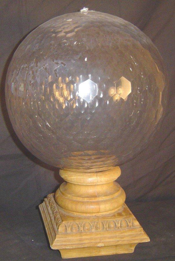 909: CUT GLASS NEWEL POST, MULTI - FACETED CUT GLASS GL