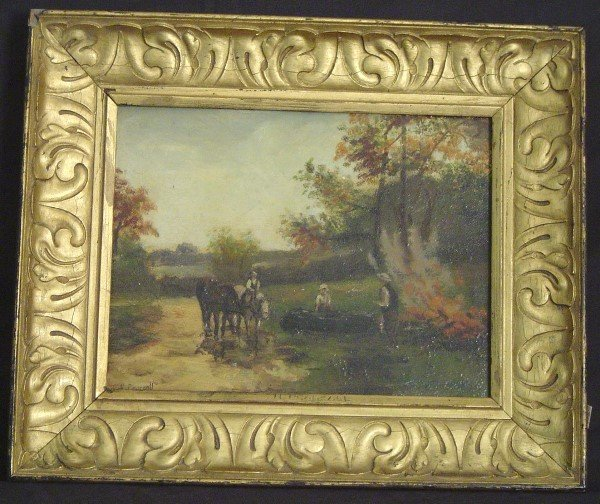 """912: SIGNED """"H.PEARSALL"""" OIL ON BOARD LANDSCAPE WITH HO"""