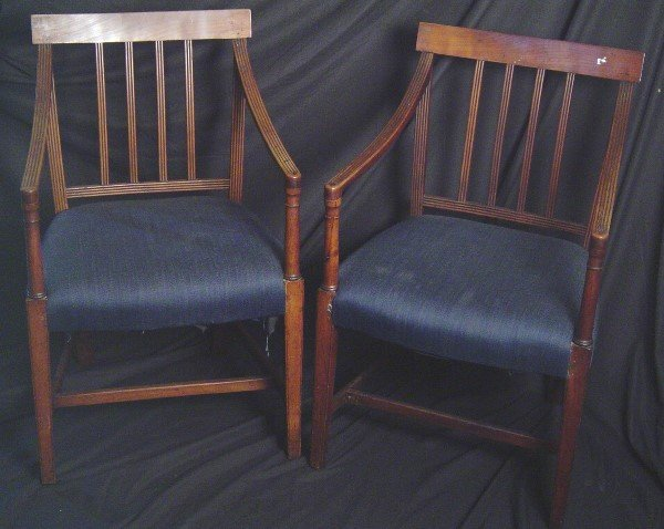 922: SET OF 8 18/19 CENTURY FEDERAL CHAIRS, CHERRY, TWO