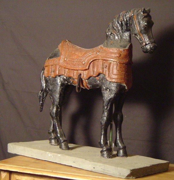 997: CAROUSEL HORSE, CAST IRON, 19TH CENTURY MOUNTED ON