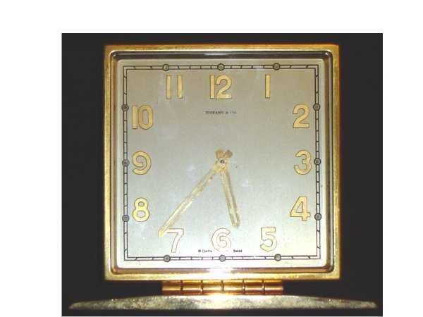 "1: TIFFANY & CO ART MODERNE BRASS DRESSER CLOCK H 5"""
