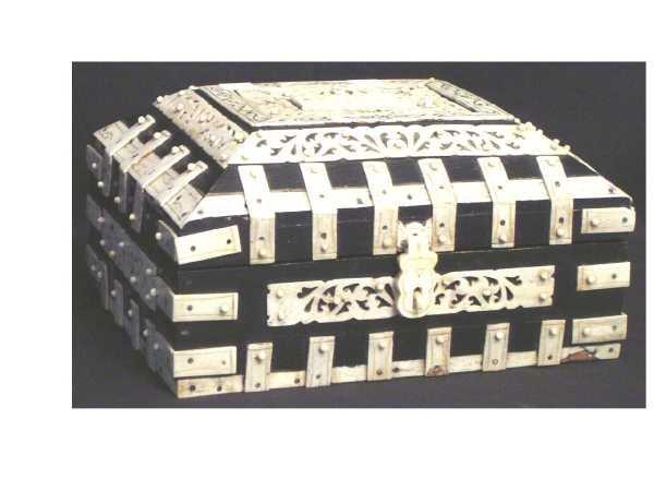 3: JEWELRY/DOCUMENT BOX EBONIZED WOOD DECORATED W/ CARV