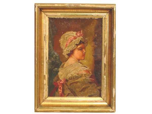 5: OIL ON CANVASE: 19TH C YOUNG GIRL WEARING ABONNET 14