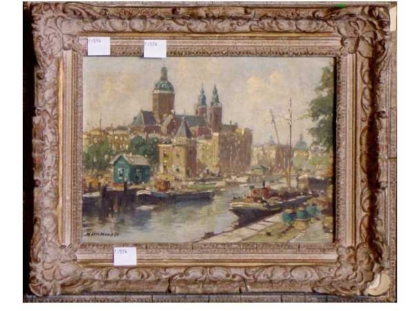 6: OIL ON CANVAS: AMSTERDAM CANAL BOATS SIGNED ILLEGIBL