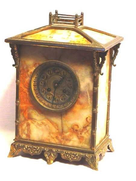 10: 19TH C FRENCH MANTLE CLOCK,BRONZE & ONYX PAGODA FOR
