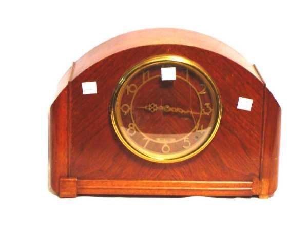 18: SETH THOMAS WALNUT ART DECO MANTEL CLOCK WITH WESTM