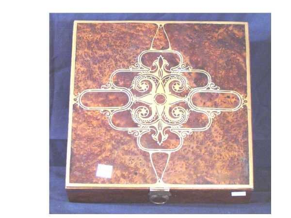 20: (2/494) ARTS & CRAFTS INTARSIA INLAY BURLED WALNUT