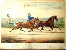 243 CURRIER  IVES HORSE RACING LARGE FOLIO PRINT FLO